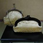 西陣金襴正絹 滴紋様 丸いがま口バッグ 滴紋様 プラスティックがま口バッグ