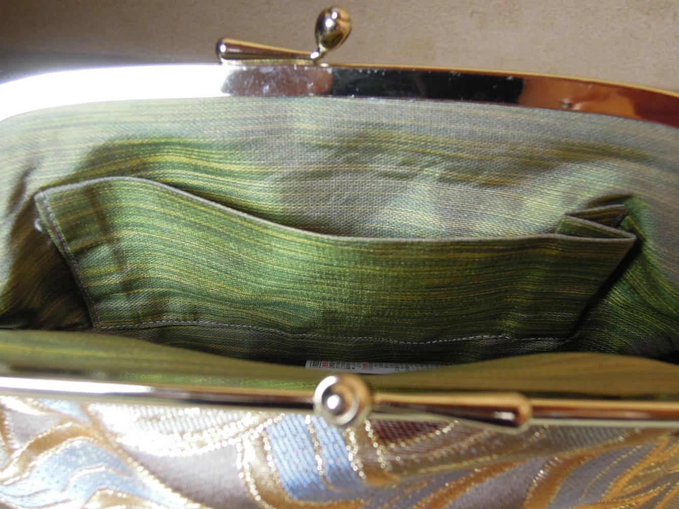 西陣金襴正絹 燕矢紋様 がま口バッグ 裏地