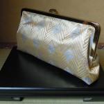 西陣金襴正絹 菱つなぎ紋様 がま口バッグ 横