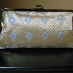 西陣金襴正絹 菱つなぎ紋様 がま口バッグ 背面