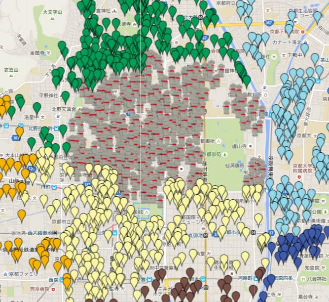 京都のお地蔵さんmap~西陣を中心に~京都市のお地蔵さんの所在地