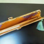 西陣正絹金襴  菱繋ぎ がま口タイプの扇子入れ