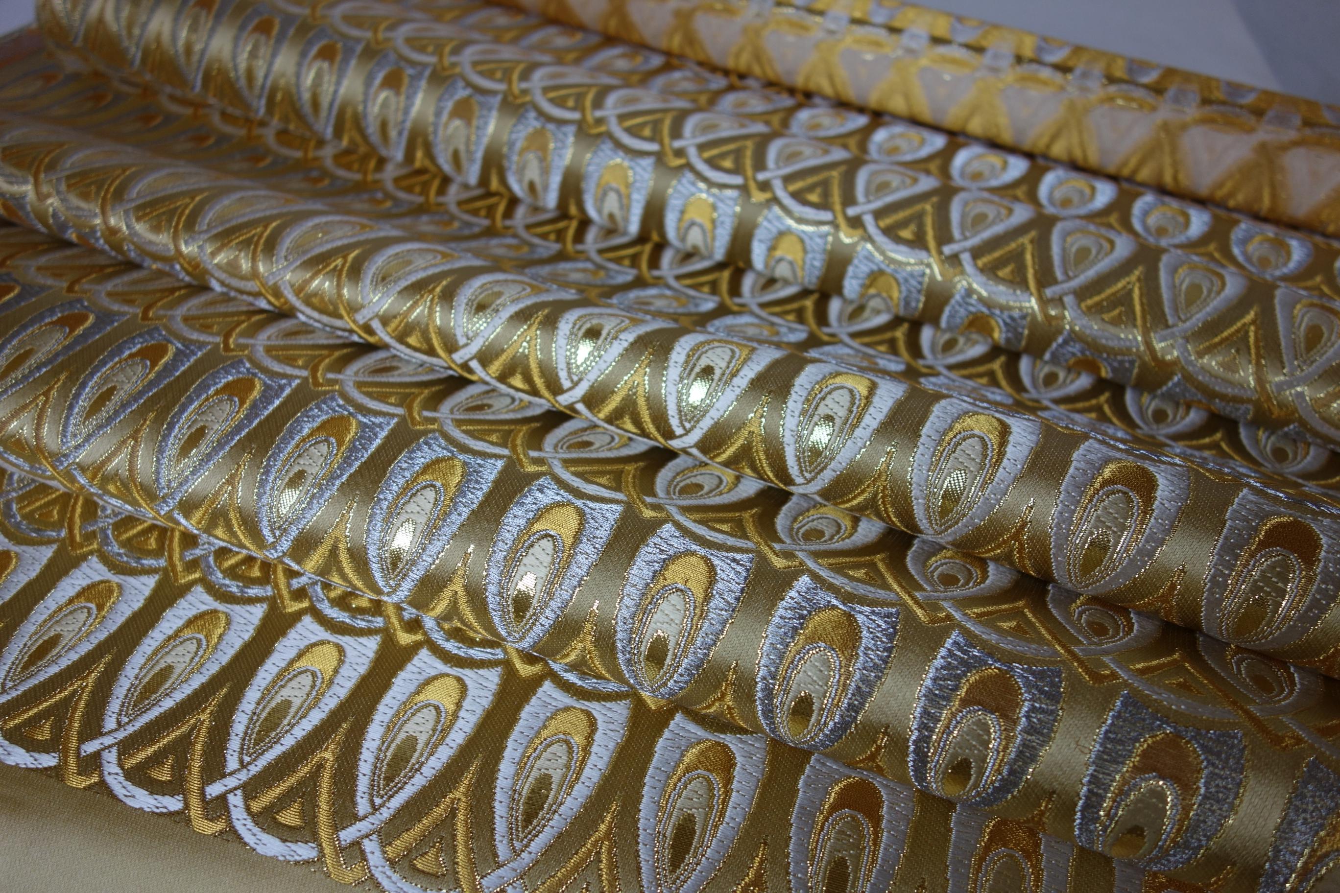 西陣正絹金襴 羽重ね 浮き 青14・銀・茶43