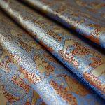 全正絹 西陣金襴 アフリカ紋様 茶3青6
