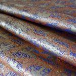 全正絹 西陣金襴 アフリカ紋様 青洞紺茶3
