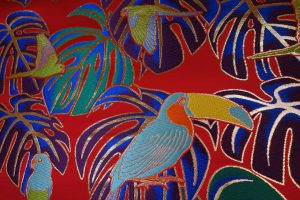 全正絹 西陣金襴 モンステラと鳥