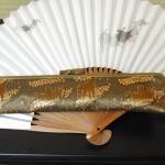 西陣正絹金襴 アフリカ紋様D がま口タイプの扇子入れ