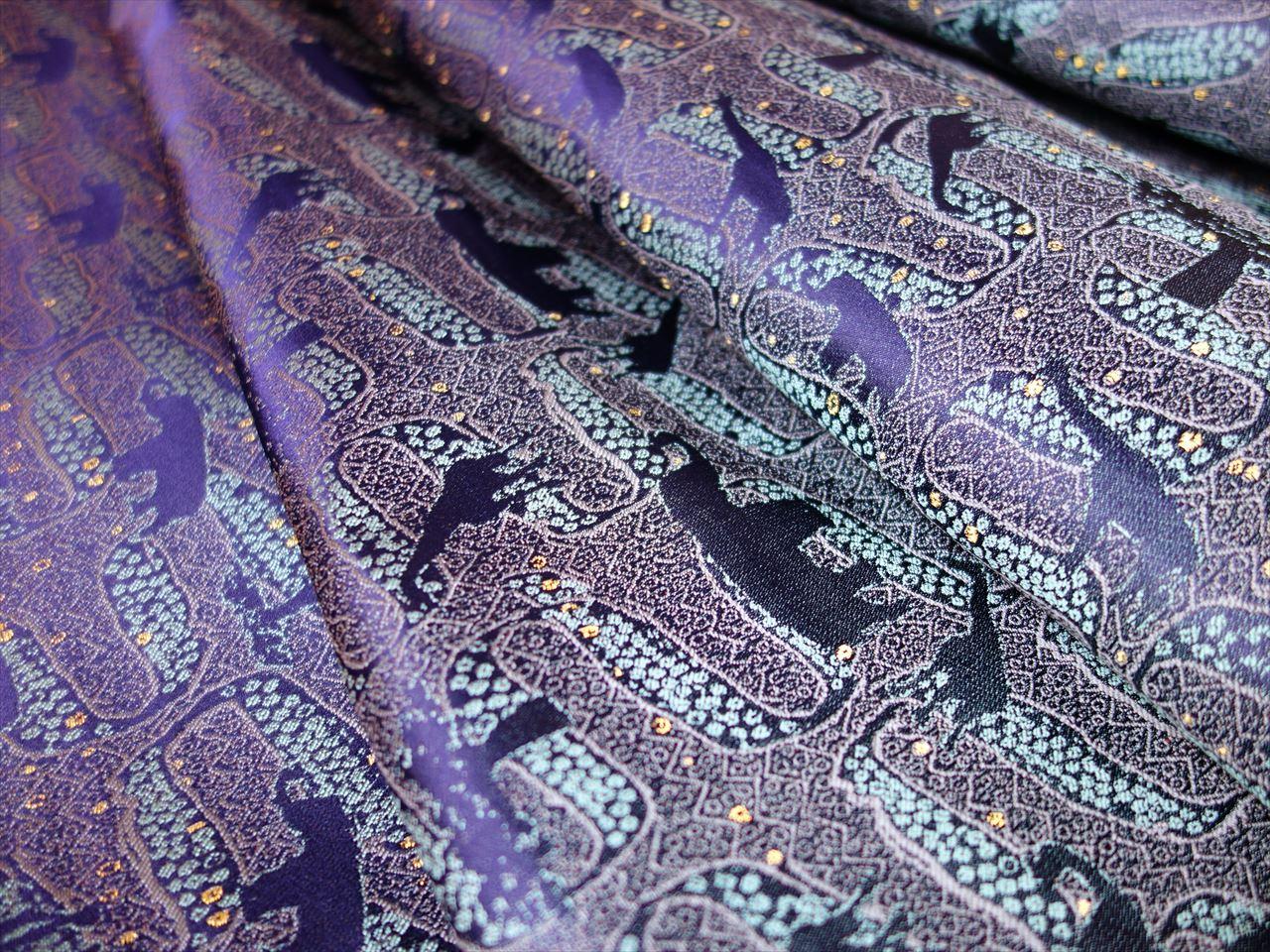全正絹 西陣金襴 アフリカ紋様 紺経 グリン36・灰1・金糸