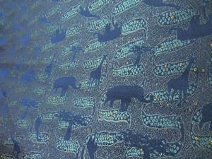 紺経 全正絹 西陣織 金襴 アフリカ紋様