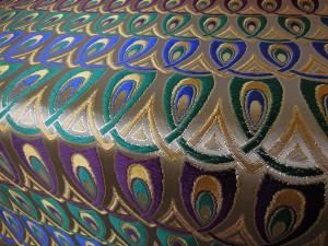 西陣正絹金襴 羽重ね 青・あられグリン・紫