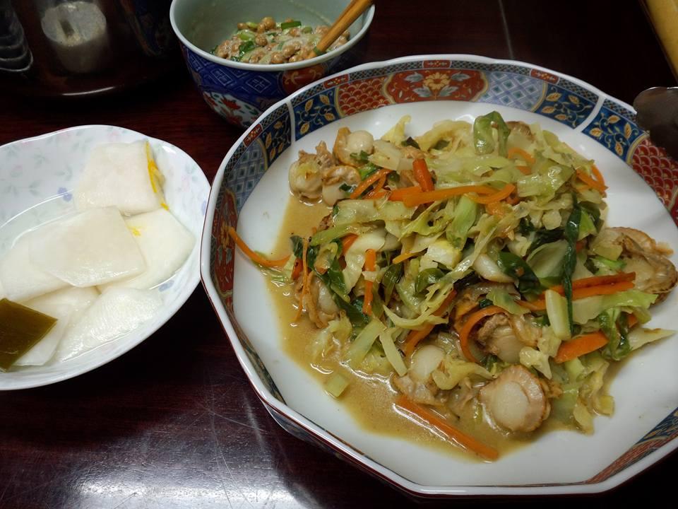 ベビーホタテと野菜を炒めたん