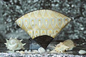 扇形バッグ Fan-shaped bag DISCOVER KANSAI 羽重ね白茶