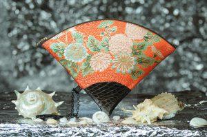 扇形バッグ Fan-shaped bag DISCOVER KANSAI 朱菊地紋菊尽しB