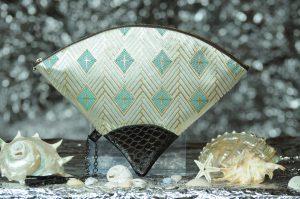 扇形バッグ Fan-shaped bag DISCOVER KANSAI 白菱重ね
