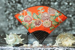 扇形バッグ Fan-shaped bag DISCOVER KANSAI 朱菊地紋菊尽しA