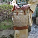 全正絹 西陣金襴 燕矢紋様 小さなトートバッグ