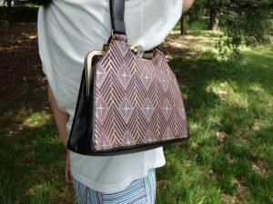 全正絹 西陣金襴 菱繋ぎ紋様 がま口バッグ