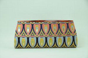 西陣織金襴 全正絹 羽重ね紋様 クラッチバッグ 裏