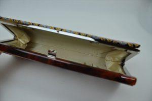 西陣織金襴 全正絹 羽重ね紋様 クラッチバッグ