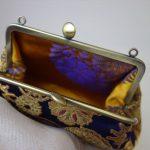 西陣金襴正絹 雪輪紋様 がま口ハンドバッグ