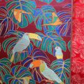 Monstera and Birds~Nishijin Kinran Brocade Fabric