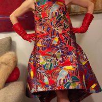 「ATTRATTI-VA」× 西陣織 金襴 正絹 モンステラと鳥のドレス