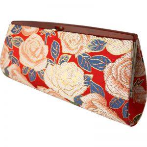 全正絹 西陣金襴 バラ紋様 クラッチバッグ