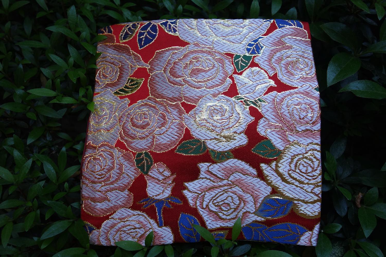 全正絹 西陣織 金襴 バラ紋様