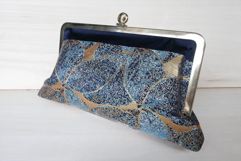 全正絹 西陣織 金襴 葉脈紋様 クラッチバッグ