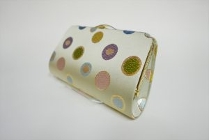 全正絹 西陣織 金襴 水玉紋様 クラッチバッグ