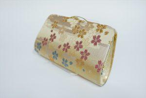 全正絹 西陣織 金襴 さくら紋様 クラッチバッグB