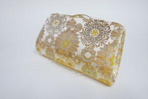 全正絹 西陣織 金襴 雪輪紋様クラッチバッグB