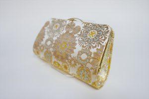 全正絹 西陣織 金襴 雪輪紋様クラッチバッグE