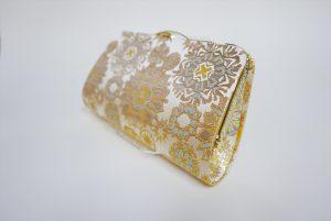 全正絹 西陣織 金襴 雪輪紋様クラッチバッグF