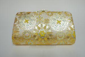 全正絹 西陣織 金襴 雪輪紋様クラッチバッグC