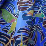 西陣織 金襴 モンステラと鳥紋様