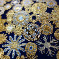全正絹 西陣織 金襴 雪輪紋様
